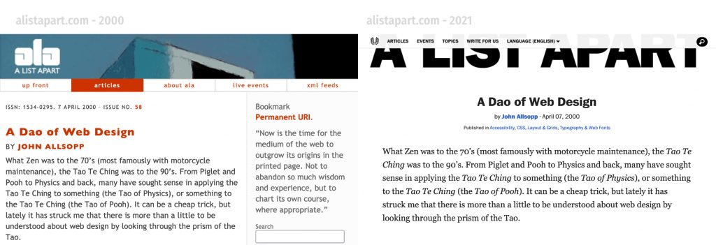 screenshots of original post (2000) and today (2021) on A List Apart website